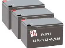 EV36/12 - Batterie Ebike  12 v 12 Ah  x 3  Batteries GEL