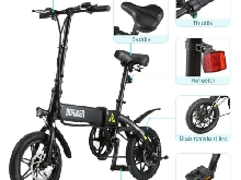 DOHIKER 14'' 250W 25km/h Vélo Pliant électrique E Bike Bicycle LED USB 3 Modes